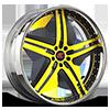 Tesla Yellow and Black with Chrome Lip