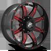 XF-215 Gloss Black w/ Red Milling - 20x10