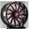 XF-216 Gloss Black w/ Red Milling - 20x10
