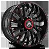 XF-221 Gloss Black w/ Red Milling - 20x10